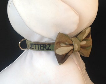 Military Dog Collar Bow Tie Set Emroidered  With Your Dogs Name - Available in Army, Navy, Air Force And Marines - Size XS, S, M, L, XL