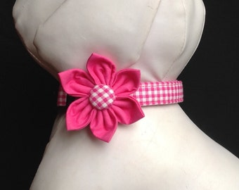 Dog Collar Flower Set - Hot Pink Gingham  - Size XS, S, M, L, XL