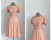 50s Light Pink Lace Fit and Flare Party Dress • 1950s Formal Cap Sleeve Dress • Full Skirt • XL • Plus Size