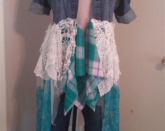 Upcycled romantic bohemian clothing/M-XL/junk gypsy style/denim duster/shabby chic jacket/prairie chic clothing/eco clothing/urban gypsy top