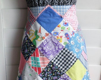 Vintage Handmade Patchwork Half Apron, Kitchen Fashion, Kitchen Linens, Mid Century  Fashion, Cotton Fabric