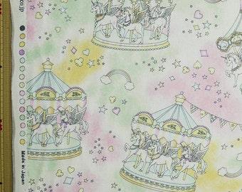 Cute Merry Go Round Print Japanese Light Green - 110cm x 50cm