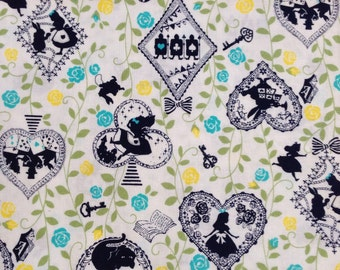 Alice in Wonderland and Rose Fabric / Japanese Fabric - 110cm x 50cm