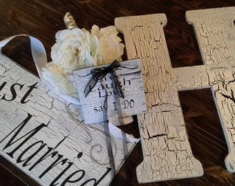 Wedding package  - 1 Monogram Letter for guestbook, I Do plaque for ring bearer, Just married sign,  By signart04&more