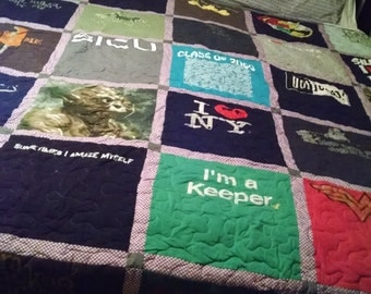 T-Shirt Quilt Queen Size 96 x 96 - Professionally Longarm Quilted