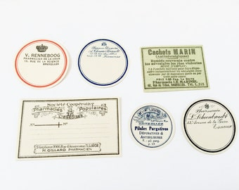 6 Authentic Vintage French Pharmacy Labels - Old Store Stock Unused - Not Repros! From France