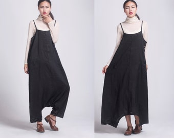 black linen maxi dress pants---a pants a dress black grey linen dress