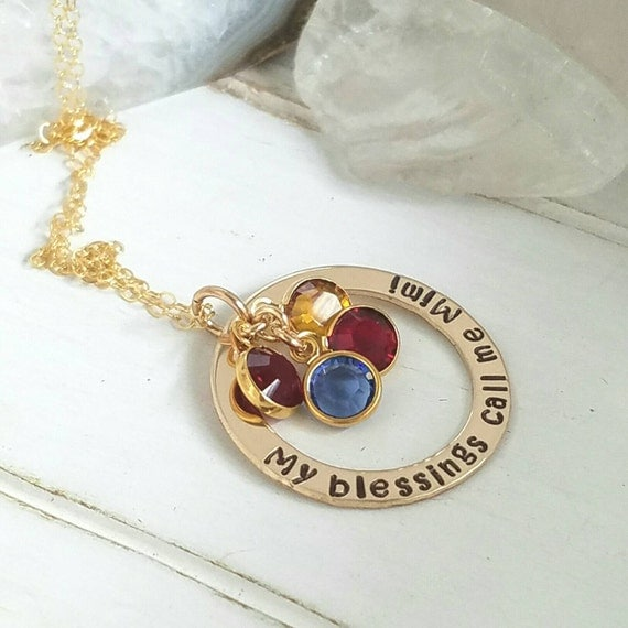 My Blessings call me, Personalized necklace, 14kt Gold Filled, 4 name Necklace, gold name Necklace, Birthstone Jewelry, grandmother necklace