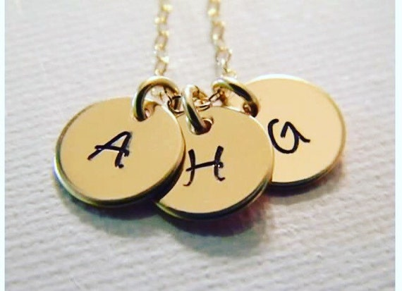 Gold Initial Necklace, Personalized Mother Necklace, 14kt Gold Filled, 3 initial necklace, Minimalist, Everyday wear, Grandmother necklace