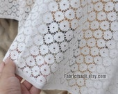 One Yard- Off White Lace Fabric, Embroidered Cotton Fabric, Circle Lace, Apparel Fabric Lace, Hollowed Lace by Yard