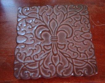trivet Frankoma 3TR collectible pottery trivet Fleur de Lis Plainsman brown padded feet 6x6 square French Country