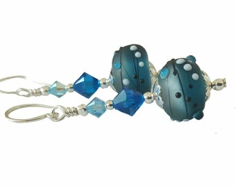 Iced Blue and Grey lampwork bead earrings with black textured decor topped with Blue and Aqua Swarovski crystal, Sterling Silver
