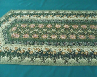Green and Gold Floral Table Runner
