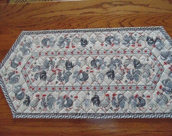 Red, Black and Gray Motif Chicken Table Runner