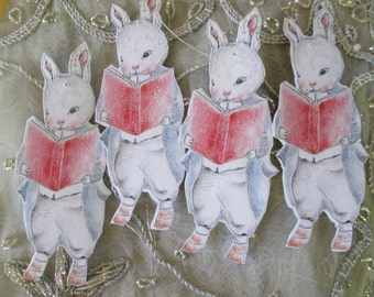 Library Bunny Gift tag Ornament Party decoration