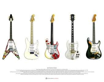 Jimi Hendrix's Guitars ART POSTER A2 size
