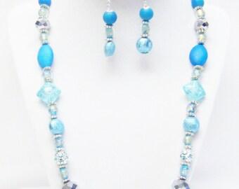 Blue Acrylic Aquarius Design Element Bead Necklace/ Bracelet/ Earrings