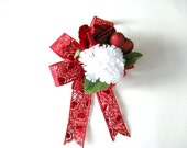 Valentine's Day gift bow/ Gift wrapping bow/ Bow for women/ Holiday package decoration/ Large Valentine bow/ Hearts and flowers (V68)
