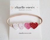 Baby Glitter Heart Headband, Valentine's Day Heart Headband, Ombre Heart Headband by Charlie Coco's