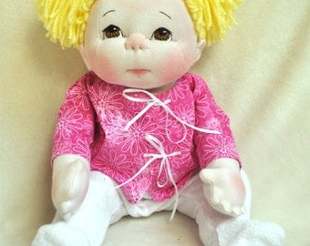 "Fretta's Textile Baby Doll. 40.5 cm / 16"" Soft Sculpture Empathy Baby Doll. Brown Eyes, Blonde Hair. Child Friendly Cloth Doll."