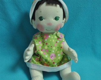"""SALE! Fretta's Original Peanut Baby Doll. 14"""" / 36 cm. Soft Sculpted Jointed Baby, Child Safe Cloth Doll"""