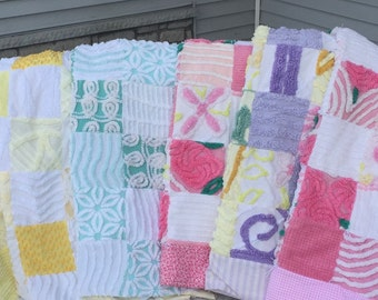 Vintage Chenille Bedspread Baby Quilt Shabby Chic