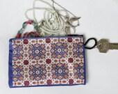 Dark blue coin purse, Fabric coin purse, Mini change bag, Credit card purse, Ethnic coin purse, Boho zipper bag