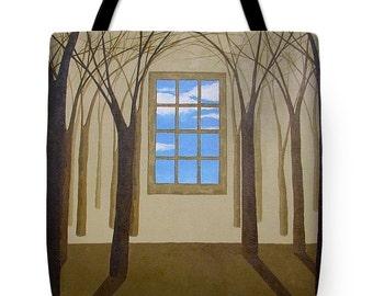 Blue Skies Surreal Landscape Tote Bag, Fine Art Shoulder Tote Bag, High Fashion Tote