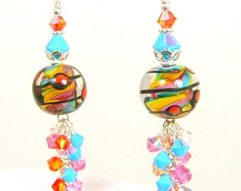 Lampwork Earrings, Swirl Lampwork Earrings, Glass Bead Earrings, Red Dot Earrings, Cluster Earrings, Rainbow Jewelry