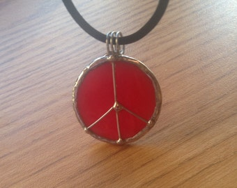 Peace Sign Stained Glass Pendant