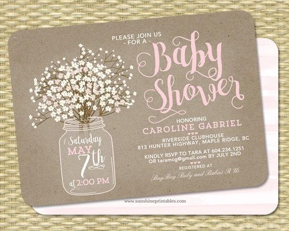 baby shower invitation baby girl rustic kraft baby's,