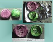 Worry Stone, Anxiety Relief, Pottery Pocket Stones, Palm Pebbles, Set of 2, Meditation rocks, Ceramic Ohm Lotus, Green Purple, Relaxation