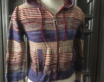 70s Hooded Zip Front Cardigan Sweater
