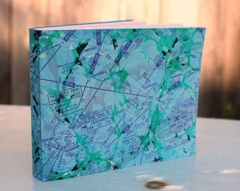 Long Road Handmade Blank Book Journal Diary Notebook Sketchbook Hand Bound Marbled Unlined, Travel Journal, Art Journal, Graduation