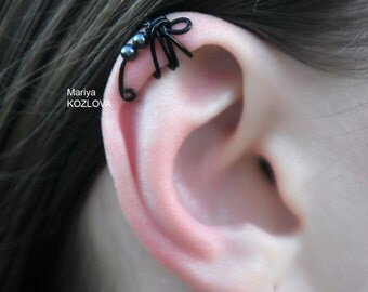 Fake Piercing Helix Cartilage Ear Cuff Black Pearls Dragonfly/top upper ear jacket/piercing imitation/goth/tattoo fly/halloween bug insect