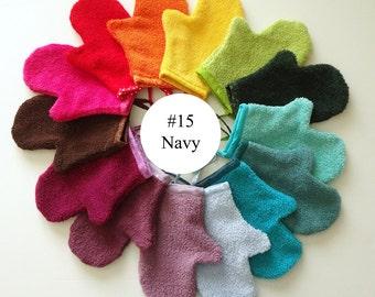 Navy Blue Terrycloth Bath Mitt (#15)