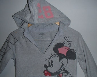 LUCKY13VINTAGE DISNEY MINNIE Mouse Distressed Gray Hoody Sport Style 28