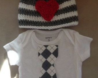 Valentine's Day outfit for baby boys - Argyl tie onesie w/heart and matching charcoal  grey and white w/ red heart beanie hat