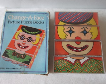 Vintage Change A Face Picture Puzzle Blocks