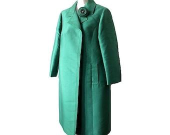 50s TISSUS STARON PARIS   silk cocktail coat  green  medium / opera coat