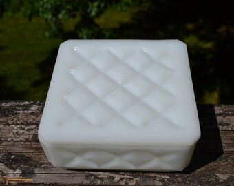 Square Milk Glass Trinket Box.  White Box with Lid. Facetted. Powder box.     - VBC47