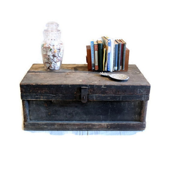 Vintage Wood Coffee Table Nage Designs: Vintage Wood Trunk Tool Chest Coffee Table Primitive
