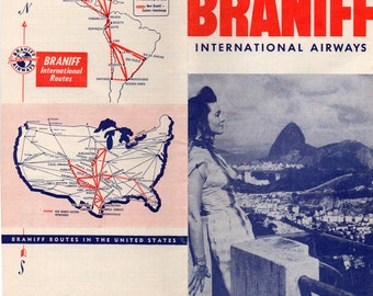 Vintage Braniff International Airways Domestic and International Schedules,1952 To Central and South America, Continental US Pics, More