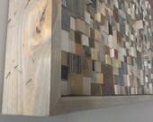 Reclaimed wood 2x4 foot Mosaic wall art Large wall art Large wall hanging Recycled wood Upcycled wood art Mosaic art Barn Pallet