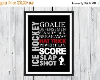 ONSALE Ice Hockey Word Art Print 8x10 Custom Colors