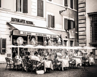 Street Cafe Photo. Rome Italy Photograph. Pizza. Black and White Photo of a cozy outdoor restaurant. Umbrellas. Fine Art Photography