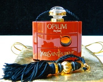 Vintage OPIUM Pure Perfume by Yves Saint Laurent 7.5 ml (.25 oz) Full Original Discontinued Gift Bag