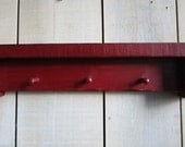 Primitive Mini Peg Shelf, Key Rack with Shelf  - Barn Red