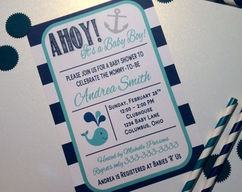AHOY! It's a Boy - Baby Shower Invitation - Digital