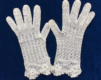 Vintage Handmade White Crocheted Gloves, Cotton, Summer Wedding